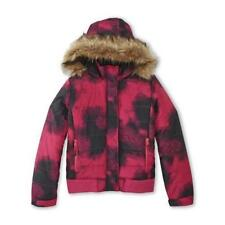 Athletech Girl's Smudge Print Hot Pink/Black Hooded Puffer Coat Size 6-6X