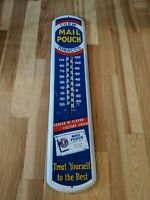"VINTAGE 39"" Chew MAIL POUCH Tobacco Thermometer Advertising Sign READ AD"
