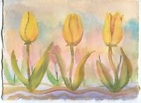 VINTAGE YELLOW TULIPS GARDEN FLOWER IMPRESSIONISM LISTED ARTIST YORK ME PAINTING