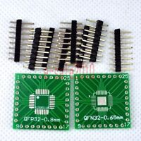5pcs NEW QFP/QFN 32 to DIP 2.54mm Adapter PCB Board Converter Double Sides E07