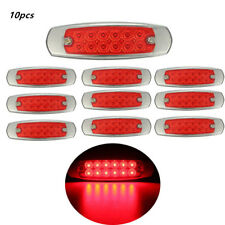 """10pc 6.15"""" Red Side Marker Clearance Light 12LED Pigtail Connector Truck Trailer"""