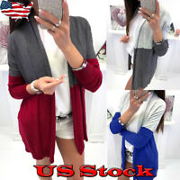 Women's Cardigan Long Sleeve Open Front Draped Sweater Rib Patchwork Casual Tops