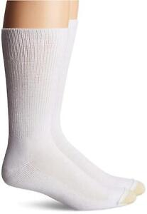 Gold Toe Men's Non Binding Super Soft Crew, 2-Pack, White,, White, Size 12.5 f4b