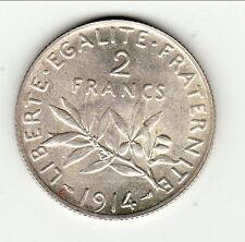 RARE 2 FRANCS SEMEUSE ARGENT 1914 exeptionnel brillant frappe