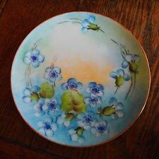 "Vintage Haviland Limoges 7 5/8"" Hand Painted Cabinet Plate Blue Flowers-Signed"