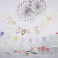 HAPPY 30TH BIRTHDAY BUNTING / Gold Foiled Backdrop, Venue Deco, Party Decoration