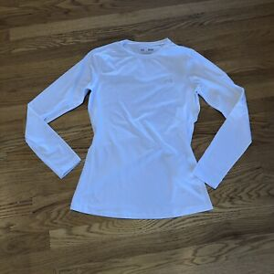 Under Armour Fitted Cold Gear Long Sleeve White Top Women Medium