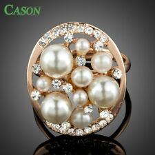 Rose Gold Fashion Pearl Finger Rings Jewelry With Austrian Crystals for Women