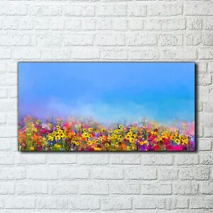 Canvas Print Wall Art Nature landscape Framed painting flower meadow sky 100x50