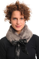 Grey Faux Fur Collar With Satin Bow Collar Scarf (SF000653)