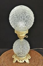 Vintage Etch CUT CLEAR ROUND Globe GLASS LAMP LIGHT Boudoir Table Vanity Lamp