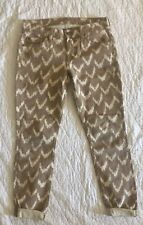 Womens 7 For All Mankind The Cropped Skinny Jeans Size 24 Camel Aztec Zig Zag