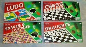 Board Games Set of 4,= Ludo,Chess, Draughts,Snake & Ladders,Individually Boxed