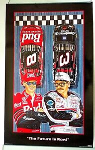 Two Sam Bass Posters Featuring Dale Earnhardt & Dale Jr