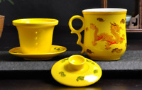 Chinese Dragon Ceramic Porcelain Tea Cup with Infuser&saucer coffee mug 350ML