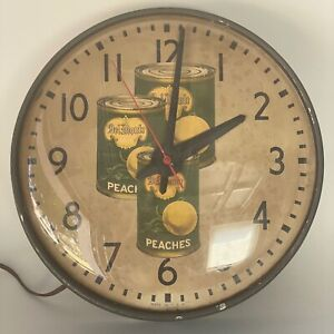 Vintage DEL MONTE Peaches Advertising Clock Grocery Produce Market Works READ