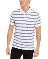 Calvin Klein Mens Shirt Gray White Size XL Polo Rugby Striped Collar $69 #312