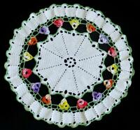 Colorful crochet doily, Crocheted Flowers, Vintage lace round doily 13in