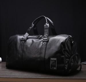 AU Mens Black Large PU Leather Travel Gym Bag Weekend Overnight Duffle Handbag