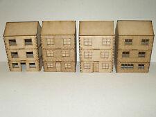 Tre Storey Case (Pacco da 4) 28 mm SCALA DI LEGNO PAESAGGIO Terrain Bullone azione WW2