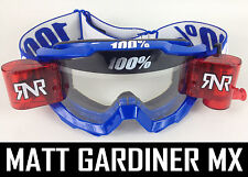 100% PERCENT ACCURI MX MOTOCROSS GOGGLES BLUE with FITTED RNR TVS roll off