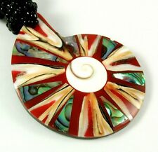"Handmade 2.4"" Paua Abalone Cone Shell Shiva Eye Beads necklace 19"" long ; FA236"