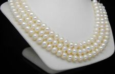 "Natural 7-8mm AAA+ white Abacus pearl necklaces 48""Long"