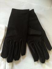 Short Silky Costume Gloves -  Black