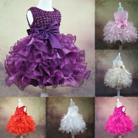 Infant Baby Girls Wedding Pageant Party Princess Lace Tutu Bow Dress 0-24Months