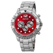 Mens August Steiner AS8158RD Red Dial Multifunction Dual Time Bracelet Watch