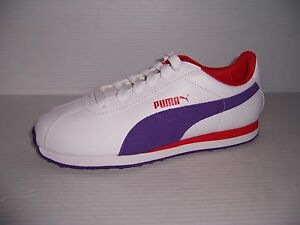 PUMA TURIN WOMENS WHITE PURPLE RED CASUAL TENNIS SHOES VARIOUS SIZES NEW