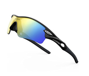 RIVBOS Polarized Sports Sunglasses with 5 Set Interchangeable Lenses (5 colors)