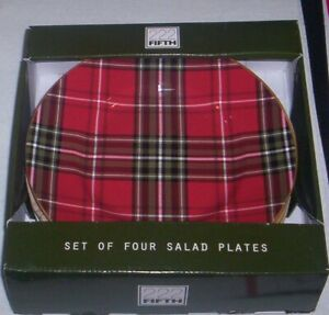 222 Fifth WEXFORD RED  Salad Dessert  Plates NWT SET of 4 New in Box