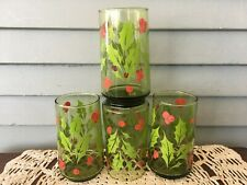 Set of 4 Vintage Green Glass Drinking Tumblers Christmas Holly Red Berries