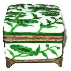 "Chinese Peking Green & White Hand Carved Glass Hinged Bronze Mounted Box, 4"""