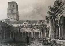Cloître Saint Trophime Arles estampe XIXe France par Rouargue 1853