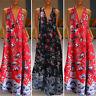 ZANZEA UK Womens Sleeveless V Neck Floral Printed Cocktail Party Long Maxi Dress