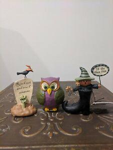 Blossom Bucket Halloween Resin Figurine Pumpkin, Tombstone, and Owl Set