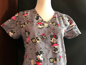 Scrubs Scrub Top Disney Mickey and Minnie Mouse Gray XS Extra Small (H79)