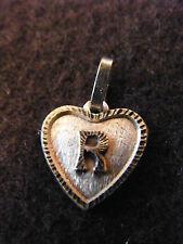 Ciondolo Cuore Medaglione in argento placcato Lettera R 1,5 cm