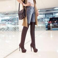 Womens Over Knee Thigh Boots High Heels Stilettos Platform Pull On Shoes Fashion