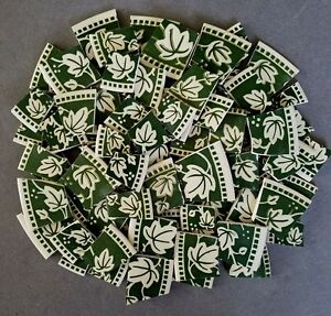 """LARGE WHITE IVY LEAVES ON GREEN MOSAIC TILES """"IVY CHARM"""" by SANGO~ (2) AVAILABLE"""