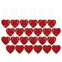 Pack of 24 Red Mini Wood Wooden Heart Christmas Tree Hanging Pendant Decorations