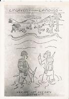 WWII 1940s US 40th Inf 2 photos cartoons Clark Field capture, Lingayen Landing