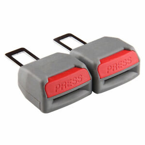 2 x Universal Grey Auto Seat Belt Buckle Clip Extender Safety Alarm Stoppers