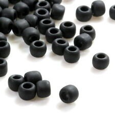TOHO Seed Beads, Size 6/0, Frosted Jet Black w/Matte Finish, 10 Grams