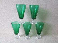 Set 5 Forrest Forest Green Anchor Hocking Glass Bubble 14 oz Stems Goblets