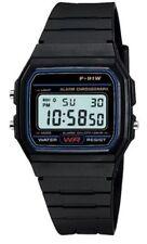 Black Retro Digital F91W black resin strap Unisex Watch - Stopwatch, Alarm