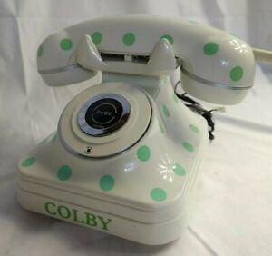 POTTERY BARN Grand Cordless Push-Button Phone ~ IVORY/GREEN POLKA DOTS