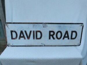 """VINTAGE 1970s EMBOSSED ALUMINIUM BRITISH STREET SIGN """"DAVID ROAD""""."""